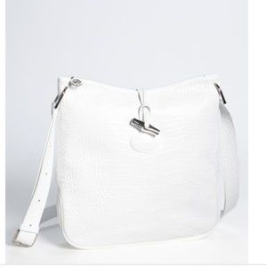 Longchamp 'Roseau' Croc Crossbody Bag White